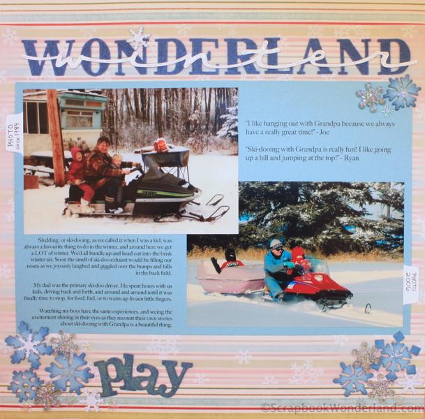 Scrapbooking Winter Activities and Hobbies: lots of examples! winter wonderland ski-dooing