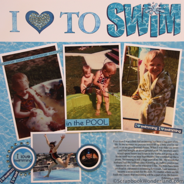 I love to swim layout image