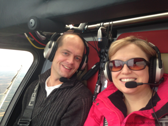 Selfie of Alice flying with her husband.