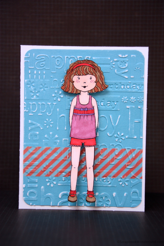 Paper Doll Birthday Card using embossing and washi tape. It has a SURPRISE to make it a gift too!
