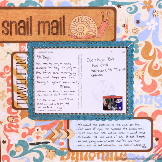 Layout featuring the back of a postcard.