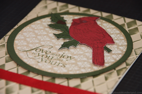 Love and Joy Christmas card created using CTMH products (detail image)