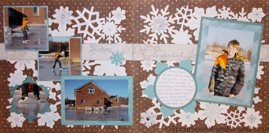 Scrapbooking Winter Activities and Hobbies: lots of examples! Skating in a winter wonderland layout