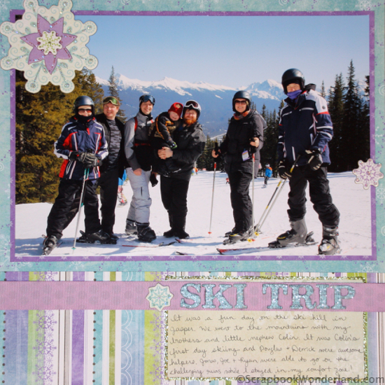 Scrapbooking Winter Activities and Hobbies: lots of examples! ski trip layout