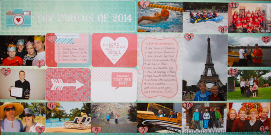 Celebrate your year by creating a layout with top photos of the year. This post has tips to get it done!