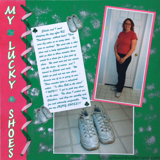 I LOVE the shoelace ribbon technique! My Lucky Shoes scrapbooking layout.