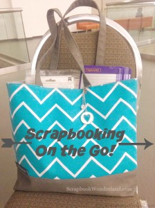 Scrapbooking on the go! Easy tips to learn how to pack everything you need in a shoulder tote.