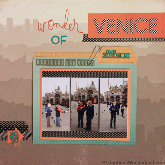 Wonder of Venice layout using office supplies. Has cool fold outs and a place to keep memorabilia.