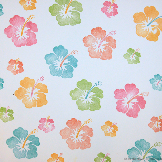stamping background patterned paper hibiscus