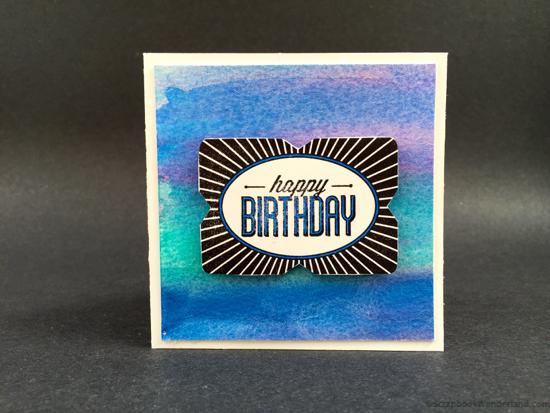 watercolour birthday card blue