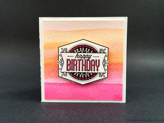 watercolour birthday card orange pink