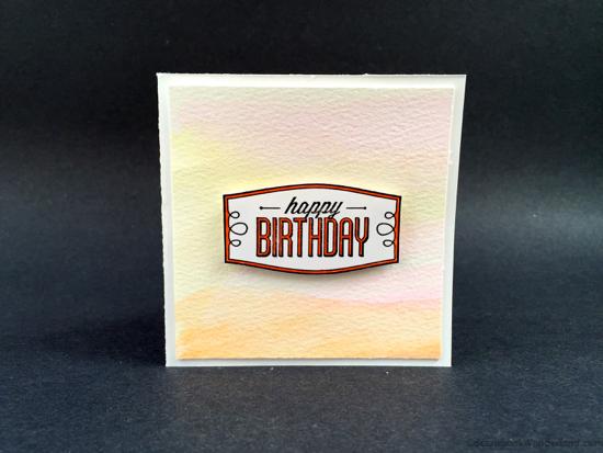 watercolour birthday card yellow
