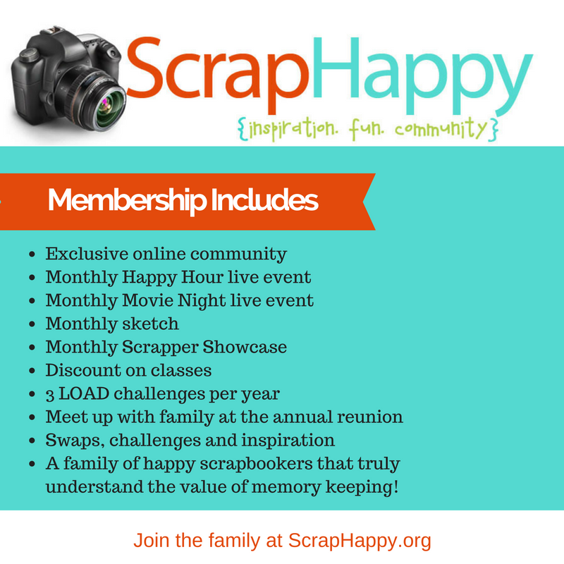 ScrapHappy Membership comes with a lot of perks, the best part is how much fun I have while actually getting my scrapbooking done! #scrapbooking