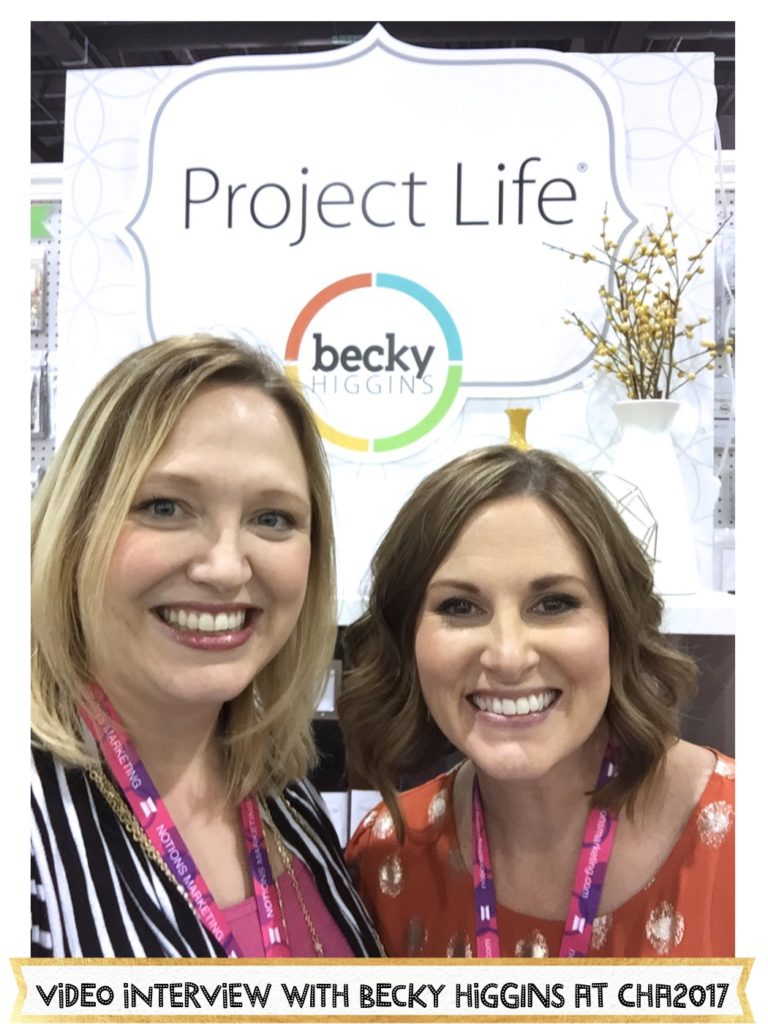 Becky Higgins shares all that's new for Project Life and her new wrapping paper, you'll never guess what it's made of, at CHA2017. #beckyhiggins #cha2017 #scrapbooking #projectlife