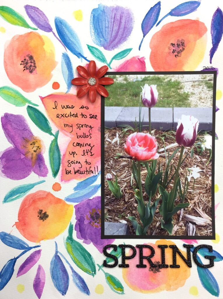 Spring watercolour garden layout #scrapbooking #watercolor #garden #spring