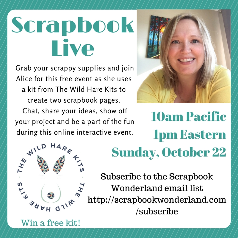 Join the fun of Scrapbook LIVE a monthly online scrapbook crop! You could win a free scrapbook kit if you attend the live online crop. #scrapbooking #crop #scrapbooklive