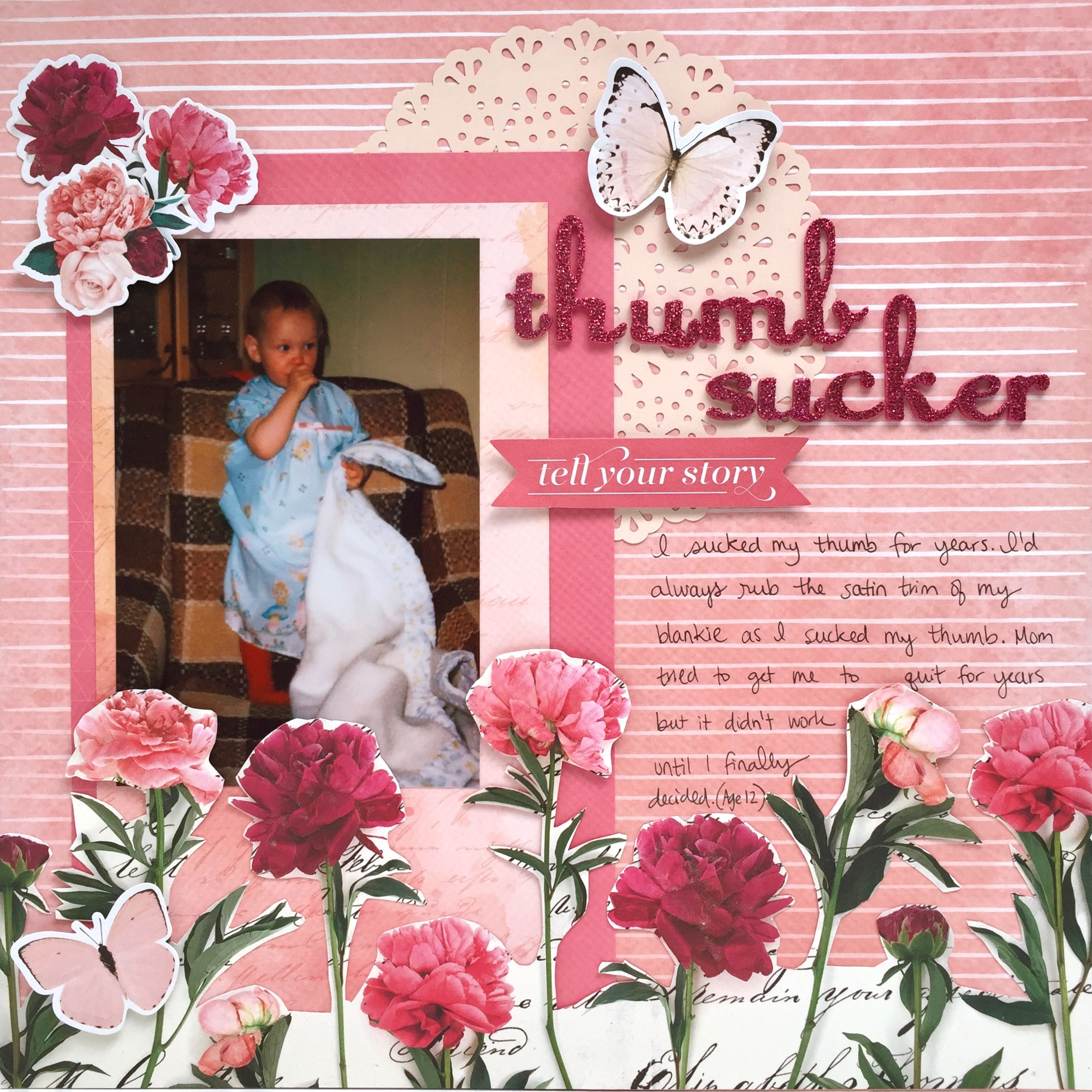 Thumb sucker scrapbook layout by Alice Boll #thumbsucker #blankie #scrapbook #layout #12x12 #pink #doily
