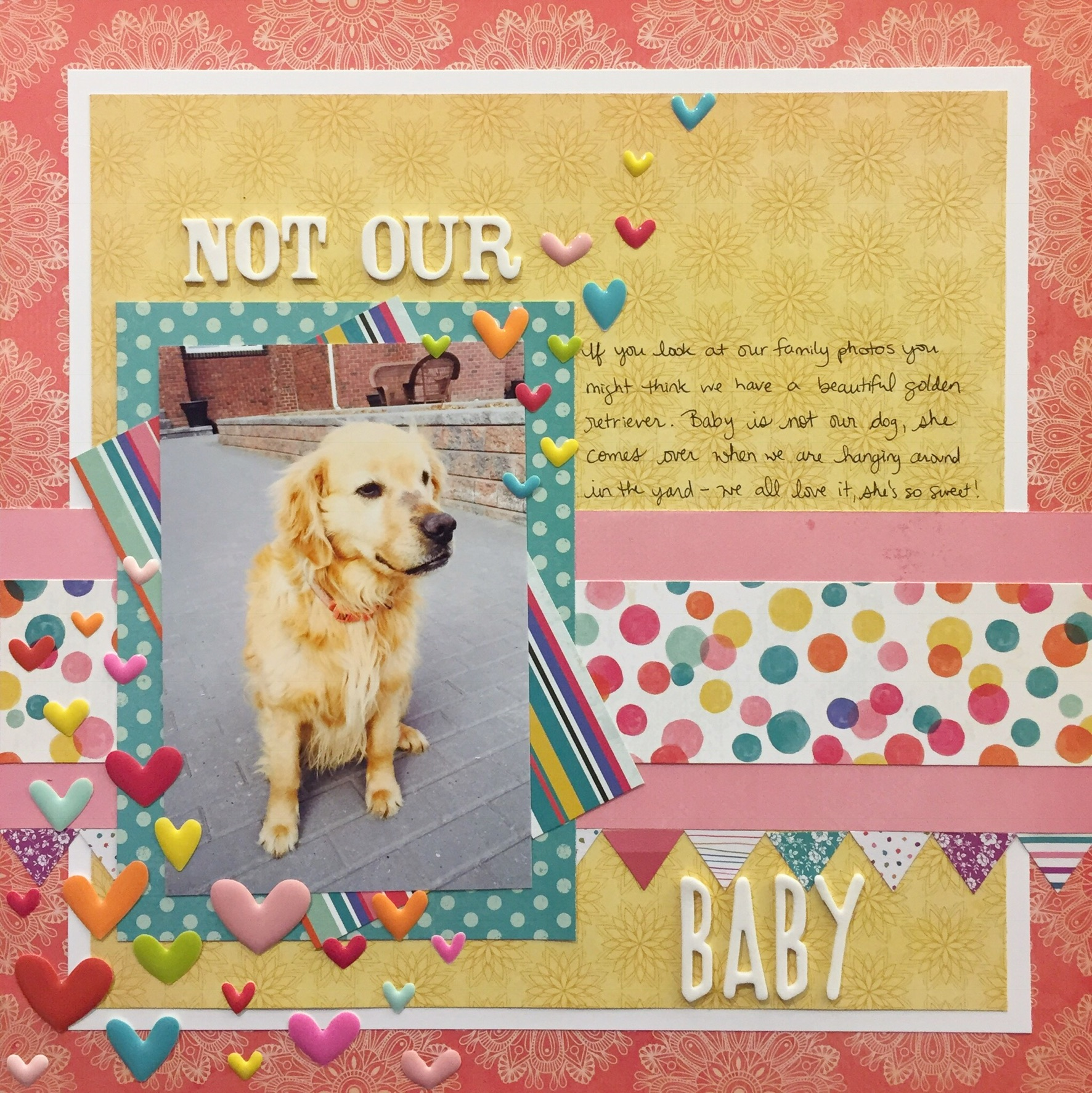Scrapbook Layout about a neighbour's dog. Not a normal topic for a layout, but this journaling tip helped me find my story. This is such a useful journaling tip for scrapbooking! #scrapbooking #journaling